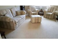 Lovely Smart 2 Seater Sofa, 2 Arm Chairs and Storage Footstool.