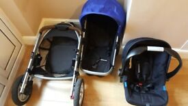 Mothercare xpedior 3 wheel push chair travel system car seat rain cover and 2 colour packs