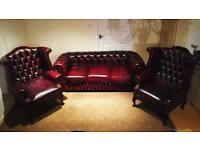 Chesterfield 3Seater Leather Sofa & Queen Anne Wing Back Chairs BARGAIN!🔥🎉!