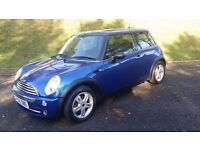 """MINI HATCH 1.6 ONE, 2005 """"55"""" BLUE, VERY CLEAN AND TIDY AND IN GOOD CONDITION, FSH"""