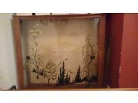Retro wood glass display cabinet
