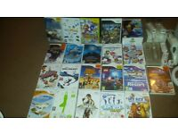 White nintendo Wii with 20 games and fit board