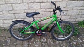 "Green Raleigh Skate Bike, 20"" Wheels, 11"" Frame, 5 Shimano Gears"