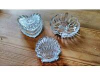 Crystal Cut Glass Trinket Pots + Ring Holder Heart, Shell Shaped Vanity Set