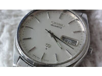 RARE VINTAGE AUTHENTIC SEIKO 7546-8060 SQ DAY DATE QUARTZ WATCH SILVER 1970s