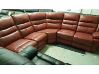 Ex Display Real Leather Red 6 pieces reclining Corner sofas + arm Chair