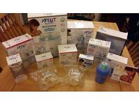 Box of multiple Avent items including Steriliser, Breast Pump, Bottles, Teats etc.