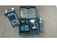 Makita 18v set radio, Grinder, combi drill, battery, charger