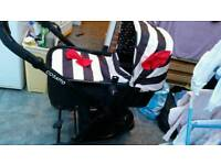 Cosatto giggle pushchair, carrycot and matching cosytoes and change bag