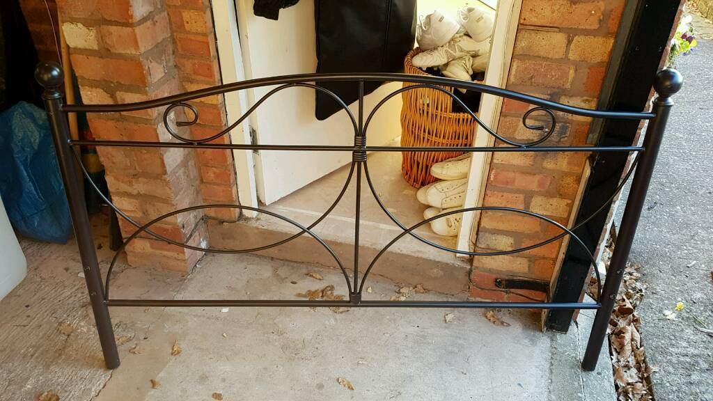 Double bed. Chocolate brown metal bed frame