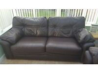 G Plan Brown Leather Sofa - 3 seater and 2 seater - great condition