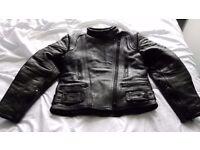 Leather ladies motorbike jacket