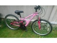 Girls mountain bike full suspension suit 7 ish to 10 12 ish good working order