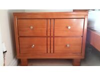 Beautiful solide pine bedside cabinet/ lamp table with two large drawers
