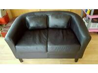 2 Faux leather dark brown two-seater sofas