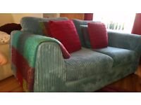 REDUCED .. for quick sale - Large Teal Corduory 2/3 Seater sofa.