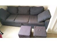SOFA BED WITH TWO MATCHING STOOLS IN GOOD CONDITION ! 90 POUNDS