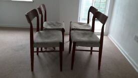 Vintage Teak Dining Chairs - Set of 4 - Need some work