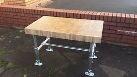 Industrial oak coffee table, Butchers block top
