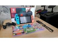 Nintendo Switch - Neon: Boxed with receipt, Zelda, Mario Kart, 1 2 switch and Case