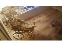 Large Antique Wicker Vintage Dolls Pram Pushchair