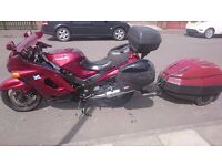 1999 kawasaki zzr1100 D7 full hard luggage and watsonian-squire D10 trailer