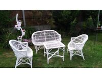 White Rattan Garden Furniture set, perfect condition