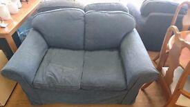 Blue 2 Seater Sofa x2