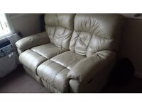 Real Leather Double Recliner Sofa