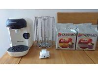 Bosch Tassimo Vivy Cream Coffee Machine includes extra items.