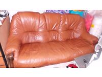 Leather sofa 3+2 with decorative wood & Leg rest