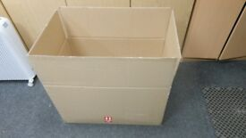 5 brand new heavy duty double wall large cardboard boxes 31 ins long x 18 ins wide x 19 ins deep