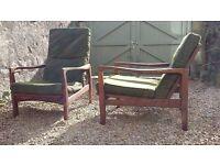 Vintage Retro Pair of Mama & Papa Danish Teak Easy Lounge Chairs with Original fabric 1950's 1960's