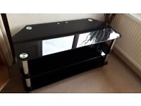 TV stand - black & chrome, tempered glass