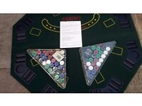 Table Top Poker / Black Jack / Card Table with Betting Chips and Cards and Dice