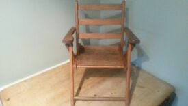 Vintage 1950's Childs Beech Wooden Slatted Folding Chair With Arms