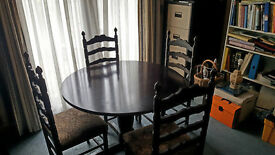 French Polished Dining Table and Four Chairs.