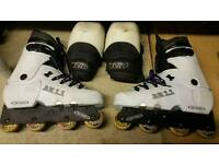 Oxygen AR 11 agresive inline skates and safety pads for knees!can deliver or post!