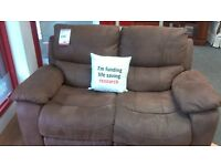 2 seat brown leather recliner sofa- British heart foundation