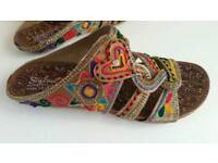 Women Flats Sandals Chappals UK Size 5 Beautiful Embroidery New Design