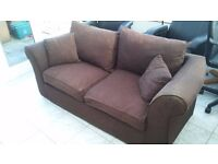 Brown metal action folding sofa bed in good condition