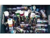 100 tins of Hycote spray paint lovely various colours car hobbies home wood metal plastic