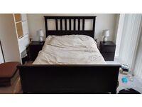 Double bed, IKEA Hemnes, black-brown