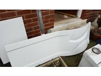 Bath P shaped 1700mm + Side Panel and end panel + tap