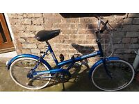 """Triumph Traffic Master 20"""" retro folding bicycle in laser blue - excellent condition bike"""