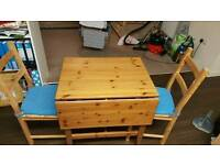 Wooden extendable table and 2 chairs