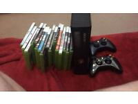 Xbox 360 250gb, 16 games and 2 controllers