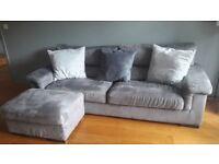 Sofa, 3-seater with foot-stool, Grey Alcantara, Poltronesofa brand, high quality