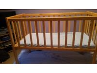Wooden Crib - static crib suitable from birth till baby can sit up. Excellent Condition.