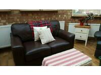 2 Seater chestnut brown leather sofa